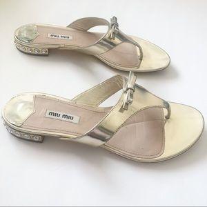 Miu Miu Gold Flat Sandals With Embellished Heel